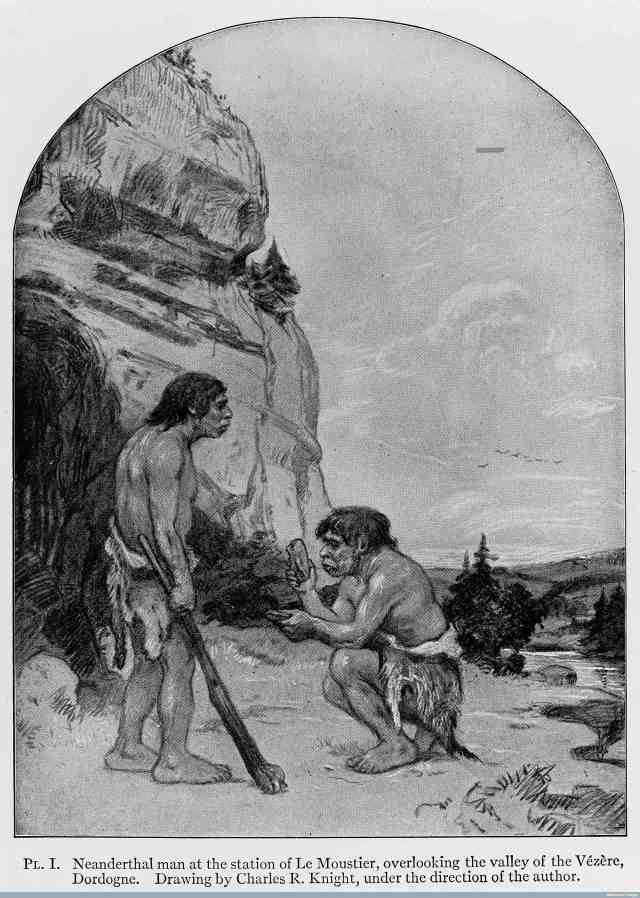 Neanderthals at Le Moustier (Art by Charles Knight, 1915. From Welcome Images)