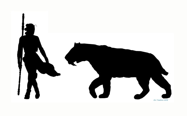 The size of Smilondon compared with Rey shows just how big this cat would have been. (Image by Jan Freedman)