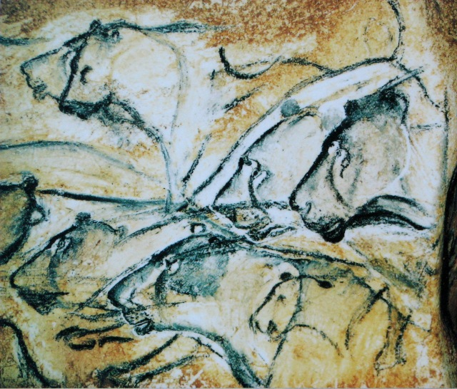 Pride of cave lions from Chauvet cave. Public domain image.