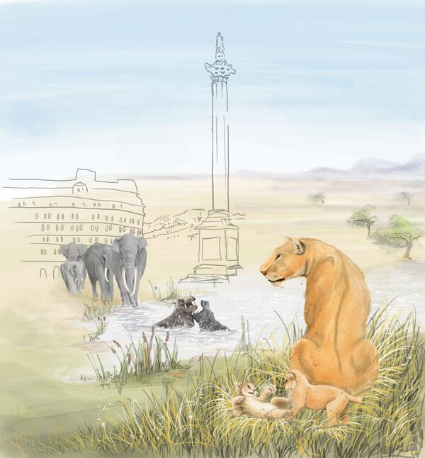 Beautiful reconstruction of the fauna of Trafalgar Square, London. (Art by Tabitha Paterson)
