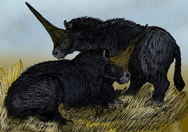 A more recent artists vision of the wonderful Steppe Rhinoceros. (Image from here)