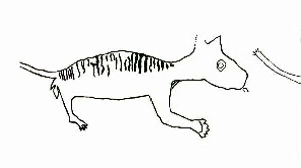The unusual rock art claimed as Thylacoleo. Image from Ackerman and Willing.