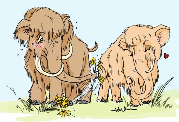 A beautiful illustration of mammoths by the talented Tabitha Paterson.