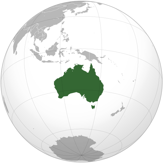 """Australia (orthographic projection)"" by Ssolbergj - Own work,This vector image was created with Inkscape.Aquarius.geomar.de. Licensed under CC BY-SA 3.0 via Wikimedia Commons - http://commons.wikimedia.org/wiki/File:Australia_(orthographic_projection).svg#mediaviewer/File:Australia_(orthographic_projection).svg"