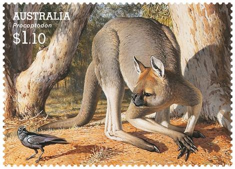 The Giant Short-Faced Kangaroo on an Australian stamp. Note the rather big and sharp claw on the foot, and the elongated fingers. (Image from here)