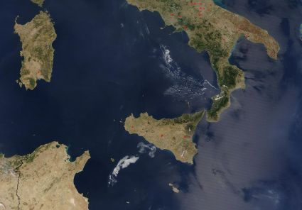 "The 'boot' of Italy and the 'ball of Scicily in the Meditteranean Sea. To the South of Scicily, you can make out a small island. This is Malta. (Image ""Tunisia - Sicily - South Italy"" by NASA, cropped by DrFO.Jr.Tn - NASA website. Licensed under Public Domain via Wikimedia Commons - http://commons.wikimedia.org/wiki/File:Tunisia_-_Sicily_-_South_Italy.jpg#mediaviewer/File:Tunisia_-_Sicily_-_South_Italy.jpg from here)"