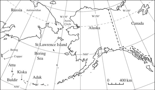 Map of islands of the Bering strait where Hydrodamalis gigas remains have been found. Image from Crerar et al.