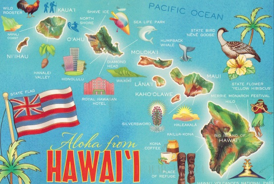 A fun map of the Hawaii islands, (Public Domain image from here)