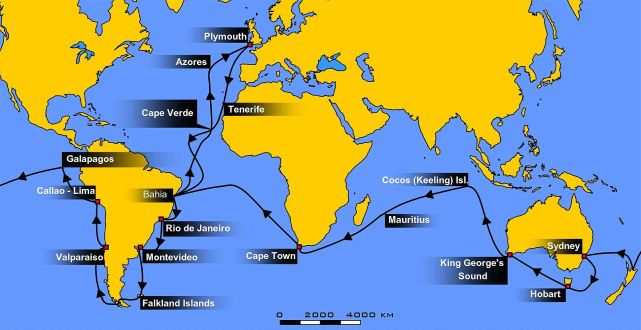 "The route of the 2nd Voyage of the HMS Beagle. (Image ""Voyage of the Beagle"" by WEBMASTER at the German language Wikipedia. Licensed under CC BY-SA 3.0 via Wikimedia Commons - http://commons.wikimedia.org/wiki/File:Voyage_of_the_Beagle.jpg#/media/File:Voyage_of_the_Beagle.jpg from here)"