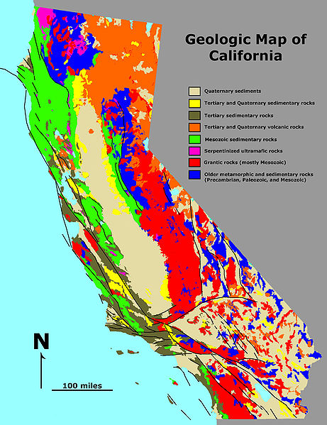 A simple geological map of California. The different colours highlight the different rock types. (Image from USGS, Public Domain).