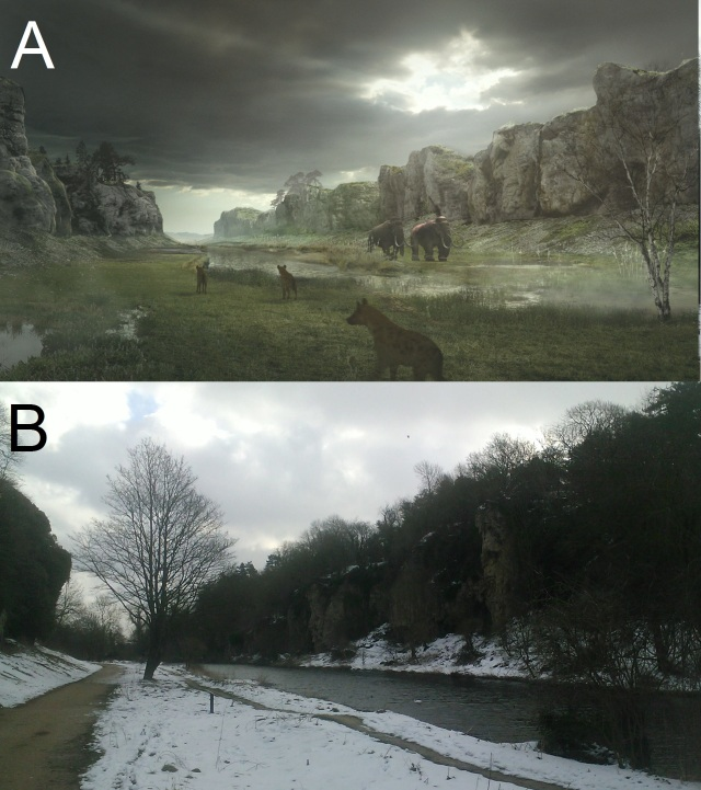 3D Recreation of what Creswell Crags may have looked around 60,000 years ago, complete with cave hyaenas and mammoths Courtesy of Creswell Crags Heritage Trust (B) Creswell Crags today during a snowy winter. Courtesy of @JackBaddams