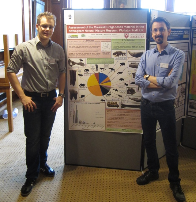Myself (left) and the NOTNH curator of natural science Adam Smith (right) with our poster on our work on Creswell Crags at the Palaeontological Association Annual Meeting 2015 in Cardiff. (Photo Courtesy of @adamstuartsmith)
