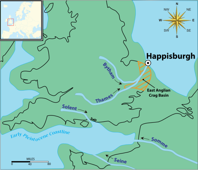 Around 800,000 years agoBritain was joined to mainland Europe. Happisburgh lay at the end of the ancient River Thames (which lay much more north than today). (Image by Wiki User, Phil88, Public Domain)