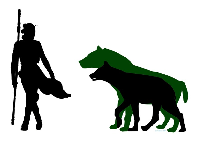 The enormous Giant Short Faced Hyena (in green)