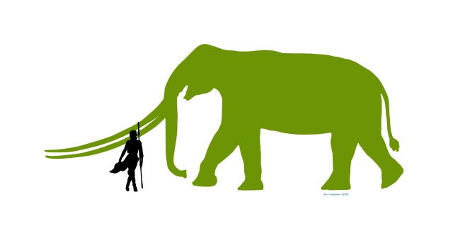 Meet Long Tusk. One of the largest land mammals, possibly boasting the largest tusks of any animal. Rey is dwarfed by it's size. (Image by Jan Freedman)