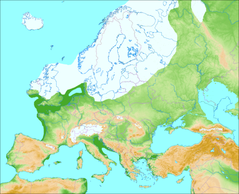 The extent of the ice sheet at the Last Glacial Maximum