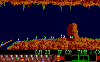 A screen shot from the Amega version of Lemmins. (image Public Domain)