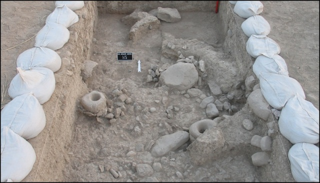 Trench at the Neolithic site of Chogha Golan at the foot of the Zagros Mountains, Iran.