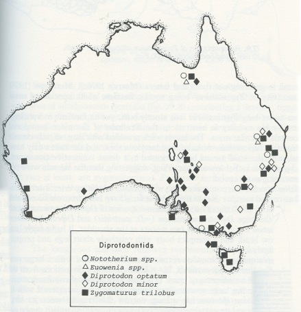 The fossil finds of Ziggy and other Pleistocene giants. Notice Ziggy's distribution is close to the coast. (Image from Quaternary Extinctions. page 264).